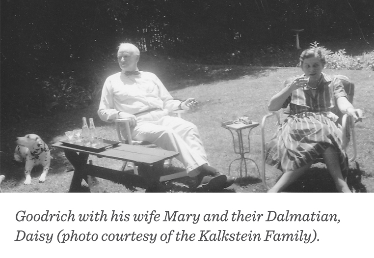 Herbert F. Goodrich with his wife Mary and their Dalmatian, Diasy. (Photo courtesy of the Kalkstein Family)